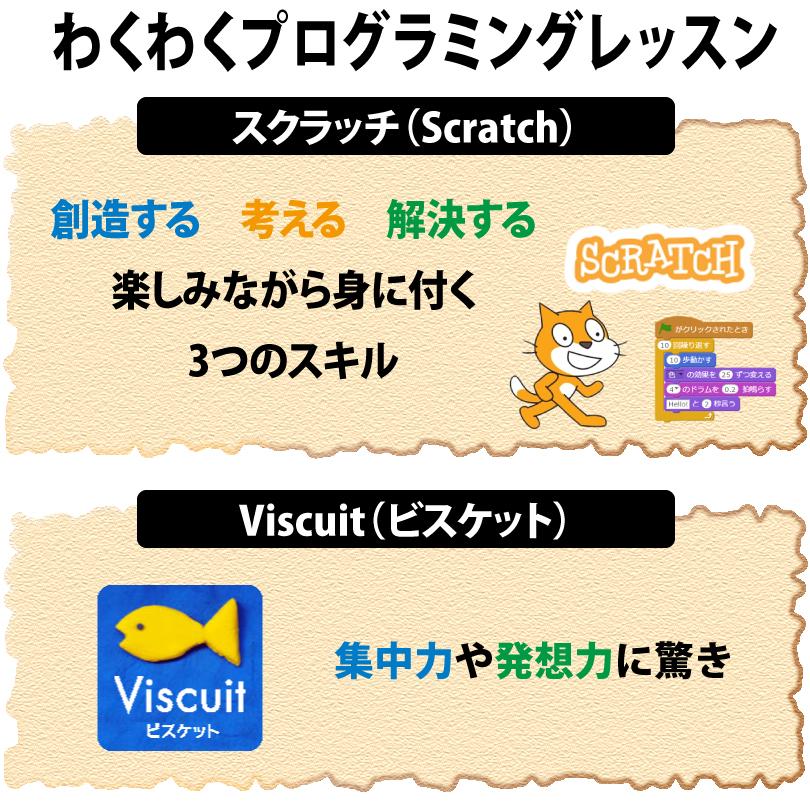 「スクラッチ(Scratch)とViscuit(ビスケット)コンピュータのプログラミングにチャレンジ!